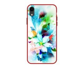 Husa Premium Spate Upzz Pro Anti Shock Compatibila Cu Iphone Xr, Model Painted Butterflies, Rama Rosie
