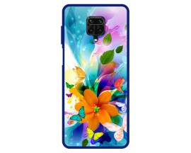 Husa Premium Spate Upzz Pro Anti Shock Compatibila Cu Xiaomi Redmi Note 9 Pro, Model Painted Butterflies 2, Rama Albastra