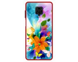 Husa Premium Spate Upzz Pro Anti Shock Compatibila Cu Xiaomi Redmi Note 9 Pro, Model Painted Butterflies 2, Rama Rosie