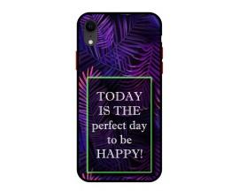 Husa Premium Spate Upzz Pro Anti Shock Compatibila Cu Iphone Xr, Model Perfect Day, Rama Neagra