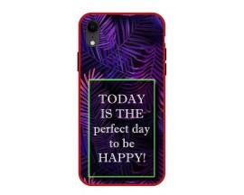 Husa Premium Spate Upzz Pro Anti Shock Compatibila Cu Iphone Xr, Model Perfect Day, Rama Rosie