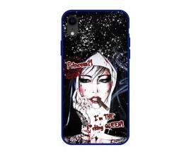 Husa Premium Spate Upzz Pro Anti Shock Compatibila Cu Iphone Xr, Model Princess And Queen, Rama Albastra