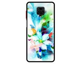Husa Premium Spate Upzz Pro Anti Shock Compatibila Cu Xiaomi Redmi Note 9 Pro, Model PAinted Butterflies, Rama Neagra