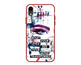 Husa Premium Spate Upzz Pro Anti Shock Compatibila Cu Iphone Xr, Model Your Eyes, Rama Rosie