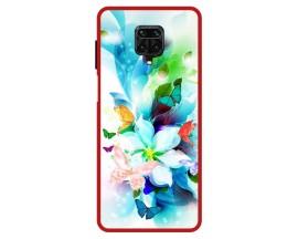 Husa Premium Spate Upzz Pro Anti Shock Compatibila Cu Xiaomi Redmi Note 9 Pro, Model Painted Butterflies, Rama Rosie