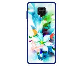 Husa Premium Spate Upzz Pro Max Anti Shock Compatibila Cu Xiaomi Redmi Note 9 Pro Max, Model Painted Butterflies, Rama Albastra