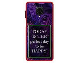Husa Premium Spate Upzz Pro Max Anti Shock Compatibila Cu Xiaomi Redmi Note 9 Pro Max, Model Perfect Day, Rama Rosie
