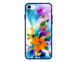 Husa Premium Spate Upzz Pro Anti Shock Compatibila Cu Iphone 7 - 8 - Se 2, Model Painted Butterflies 2, Rama Albastra