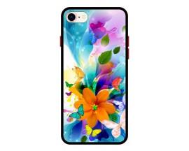 Husa Premium Spate Upzz Pro Anti Shock Compatibila Cu Iphone 7 - 8 - Se 2, Model Painted Butterflies 2, Rama Neagra