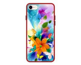 Husa Premium Spate Upzz Pro Anti Shock Compatibila Cu Iphone 7 - 8 - Se 2, Model Painted Butterflies 2, Rama Rosie