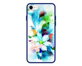 Husa Premium Spate Upzz Pro Anti Shock Compatibila Cu Iphone 7 - 8 - Se 2, Model Painted Butterflies, Rama Albastra