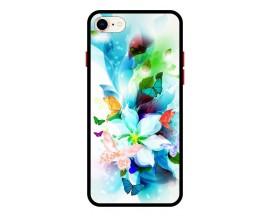 Husa Premium Spate Upzz Pro Anti Shock Compatibila Cu Iphone 7 - 8 - Se 2, Model Painted Butterflies, Rama Neagra