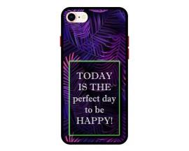 Husa Premium Spate Upzz Pro Anti Shock Compatibila Cu Iphone 7 - 8 - Se 2, Model Perfect Day, Rama Neagra