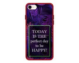 Husa Premium Spate Upzz Pro Anti Shock Compatibila Cu Iphone 7 - 8 - Se 2, Model Perfect Day, Rama Rosie