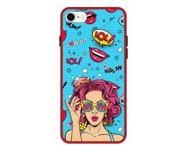 Husa Premium Spate Upzz Pro Anti Shock Compatibila Cu Iphone 7 - 8 - Se 2, Model Wow, Rama Rosie