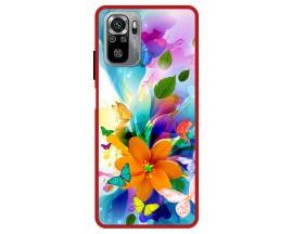 Husa Premium Spate Upzz Pro Max Anti Shock Compatibila Cu Xiaomi Redmi Note 10-10S, Model Painted Butterflies 2, Rama Rosie