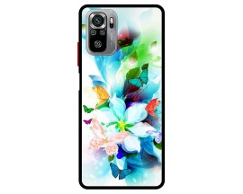 Husa Premium Spate Upzz Pro Max Anti Shock Compatibila Cu Xiaomi Redmi Note 10-10S, Model Painted Butterflies, Rama Neagra