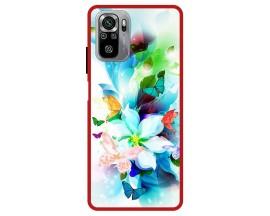Husa Premium Spate Upzz Pro Max Anti Shock Compatibila Cu Xiaomi Redmi Note 10-10S, Model Painted Butterflies, Rama Rosie