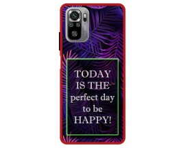 Husa Premium Spate Upzz Pro Max Anti Shock Compatibila Cu Xiaomi Redmi Note 10-10S, Model Perfect Day, Rama Rosie