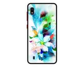 Husa Premium Spate Upzz Pro Anti Shock Compatibila Cu Samsung Galaxy A10, Model Painted Butterflies, Rama Neagra
