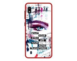 Husa Premium Spate Upzz Pro Anti Shock Compatibila Cu Samsung Galaxy A10, Model Your Eyes, Rama Rosie