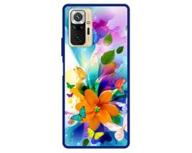 Husa Premium Spate Upzz Pro Max Anti Shock Compatibila Cu Xiaomi Redmi Note 10 Pro, Model Painted Butterflies 2, Rama Albastra