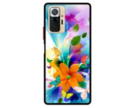 Husa Premium Spate Upzz Pro Max Anti Shock Compatibila Cu Xiaomi Redmi Note 10 Pro, Model Painted Butterflies 2, Rama Neagra