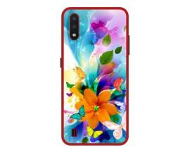 Husa Premium Spate Upzz Pro Anti Shock Compatibila Cu Samsung Galaxy A01, Model Painted Butterflies 2, Rama Rosie
