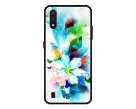 Husa Premium Spate Upzz Pro Anti Shock Compatibila Cu Samsung Galaxy A01, Model Painted Butterflies, Rama Neagra