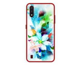 Husa Premium Spate Upzz Pro Anti Shock Compatibila Cu Samsung Galaxy A01, Model Painted Butterflies, Rama Rosie