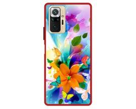 Husa Premium Spate Upzz Pro Max Anti Shock Compatibila Cu Xiaomi Redmi Note 10 Pro, Model Painted Butterflies 2, Rama Rosie