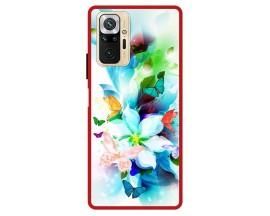 Husa Premium Spate Upzz Pro Max Anti Shock Compatibila Cu Xiaomi Redmi Note 10 Pro, Model Painted Butterflies, Rama Rosie