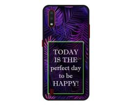 Husa Premium Spate Upzz Pro Anti Shock Compatibila Cu Samsung Galaxy A01, Model Perfect Day, Rama Neagra
