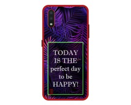 Husa Premium Spate Upzz Pro Anti Shock Compatibila Cu Samsung Galaxy A01, Model Perfect Day, Rama Rosie