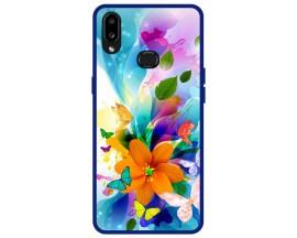 Husa Premium Spate Upzz Pro Anti Shock Compatibila Cu Samsung Galaxy A10s, Model Painted Butterflies 2, Rama Albastra
