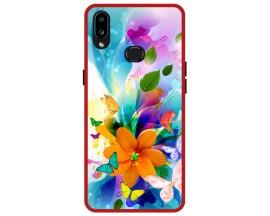Husa Premium Spate Upzz Pro Anti Shock Compatibila Cu Samsung Galaxy A10s, Model Painted Butterflies 2, Rama Rosie