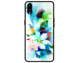 Husa Premium Spate Upzz Pro Anti Shock Compatibila Cu Samsung Galaxy A10s, Model Painted Butterflies, Rama Neagra