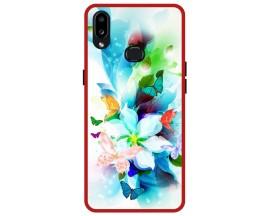 Husa Premium Spate Upzz Pro Anti Shock Compatibila Cu Samsung Galaxy A10s, Model Painted Butterflies, Rama Rosie