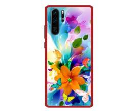 Husa Premium Spate Upzz Pro Anti Shock Compatibila Cu Huawei P30 Pro, Model Painted Butterflies 2, Rama Rosie