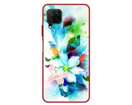 Husa Premium Spate Upzz Pro Anti Shock Compatibila Cu Huawei P40 Lite, Model Painted Butterflies, Rama Rosie