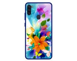 Husa Premium Spate Upzz Pro Anti Shock Compatibila Cu Samsung Galaxy A11, Model Painted Butterflies 2, Rama Albastra