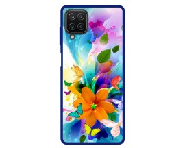 Husa Premium Spate Upzz Pro Anti Shock Compatibila Cu Samsung Galaxy A12, Model Painted Butterflies 2, Rama Albastra
