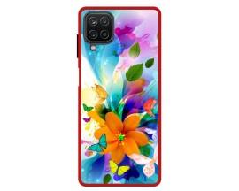 Husa Premium Spate Upzz Pro Anti Shock Compatibila Cu Samsung Galaxy A12, Model Painted Butterflies 2, Rama Rosie