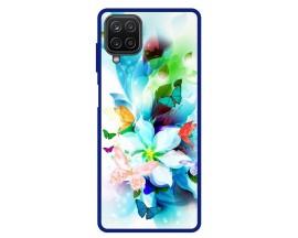 Husa Premium Spate Upzz Pro Anti Shock Compatibila Cu Samsung Galaxy A12, Model Painted Butterflies, Rama Albastre