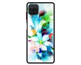 Husa Premium Spate Upzz Pro Anti Shock Compatibila Cu Samsung Galaxy A12, Model Painted Butterflies, Rama Neagra