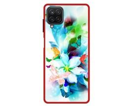 Husa Premium Spate Upzz Pro Anti Shock Compatibila Cu Samsung Galaxy A12, Model Painted Butterflies, Rama Rosie