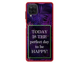 Husa Premium Spate Upzz Pro Anti Shock Compatibila Cu Samsung Galaxy A12, Model Perfect Day, Rama Rosie