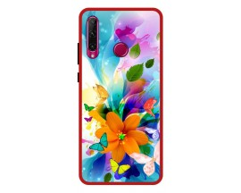 Husa Premium Spate Upzz Pro Anti Shock Compatibila Cu Huawei P40 Lite E, Model Painted Butterflies 2, Rama Rosie