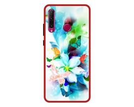 Husa Premium Spate Upzz Pro Anti Shock Compatibila Cu Huawei P40 Lite E, Model Painted Butterflies, Rama Rosie