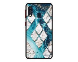 Husa Premium Spate Upzz Pro Anti Shock Compatibila Cu Samsung Galaxy A20e, Model Marble 1, Rama Neagra